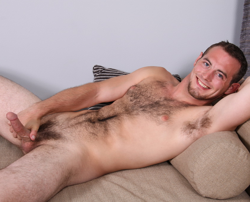 Hot hairy naked college stud