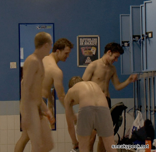 Nude athletes in locker rooms