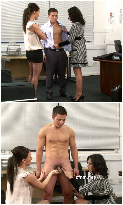 Arrogant Guy Inspected by 2 Clothed Girls